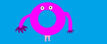 Mr. Cream, a dark pink anthromorphic donut