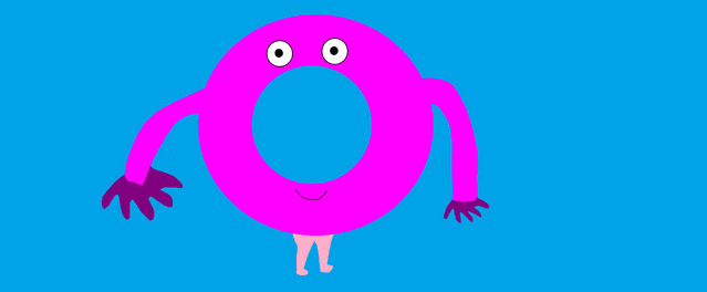 File:Mr. Cream, a dark pink anthromorphic donut.png