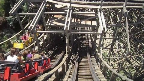 Stampida right track front seat on-ride HD POV PortAventura Park