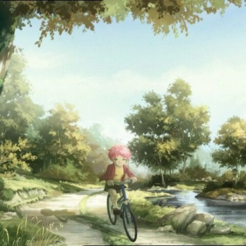 Aelita turned into her past version, on a bicycle.
