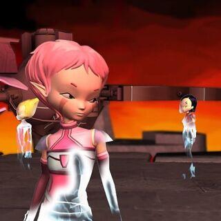 Aelita, Odd and Yumi landing in Xanadu.