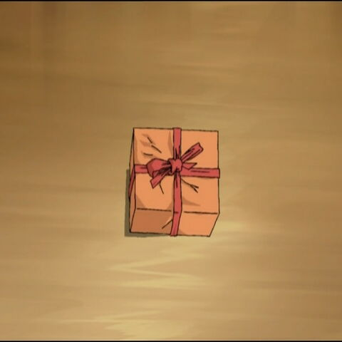 Ulrich leaves his gift to Yumi in Ishiyama's house.