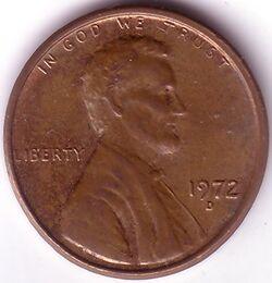 USD 1972 1 Cent D