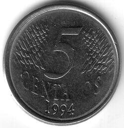 BRA BRL 1994 5 Centavo