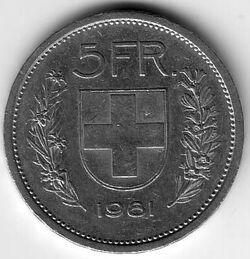 CHE CHF 1981 5 Franc