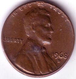 USD 1968 1 Cent D