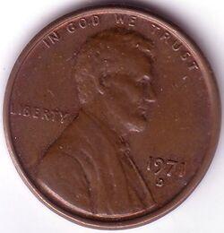 USD 1971 1 Cent D