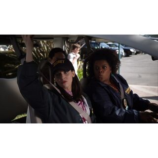 Security guards Annie Edison and Shirley Bennett on the job.