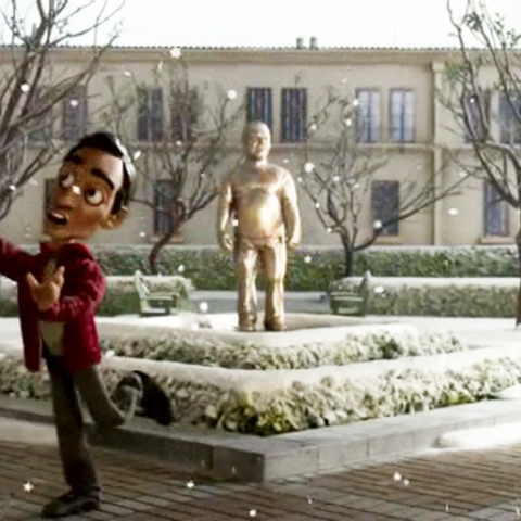 Luis Guzman statue in stop motion animated form.