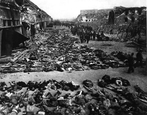 File:Rows of bodies of dead inmates fill the yard of Lager Nordhausen, a Gestapo Nazi concentration camp.jpg