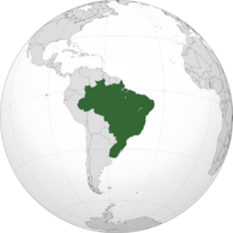 Orthographic map of Brazil (Empire)