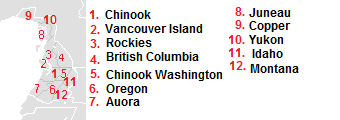 Divisions of cascadia
