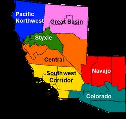 Map of Sierra (Unofficial regions)