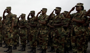 Liberian soldiers standing at attention
