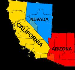 Map of Sierra (California-Nevada-Arizona regions)