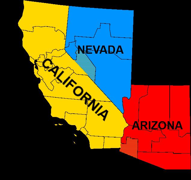 Image Map Of Sierra CaliforniaNevadaArizona Regionspng - Map of california and arizona