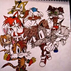 Drawing of Rex, Sleepy, Little Grey, Boxy (Braxton), Marbles, Ratbag and a couple scrapped characters in the old crappy Sonic-styled designs, based off the Sonic Rivals art because I was stupid.