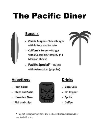 Pacific Diner Menu
