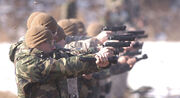 Marine Security Guard students perform rapid-fire exercises