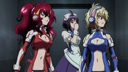 Cross Ange ep 11 Ange, Hilda and Momoka in the hanger
