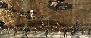 Clone troopers arriveren op Utapau