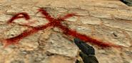De dust bomb site A red cross