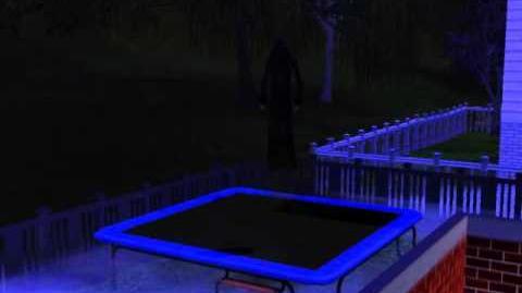 Grim Reaper bounces on trampoline