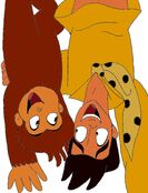 Curious George 4- George and Ted upside down