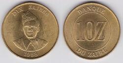 Zaire 10 zaires 1988