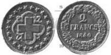 Switzerland 2 franc probe 1860