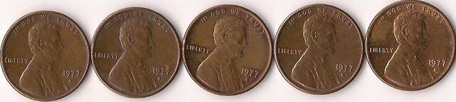 File:Five 1977-D Lincoln pennies.jpg