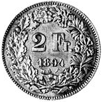 Switzerland 2 francs 1894A pattern