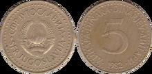 Yugoslavia 5 dinara 1982