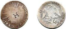 2 reales de Guanajuato de 1842 con resello H (anverso y reverso)