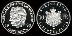 Liechtenstein 10 franken 1990