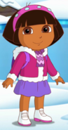 Dora in snow coat