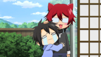 Kei hugging Hiroshi