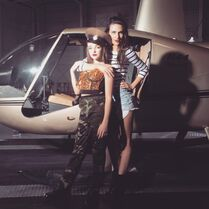 Kendall and Charlotte by helicopter