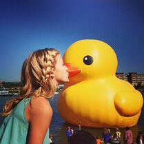 Paige Hyland kissing duck