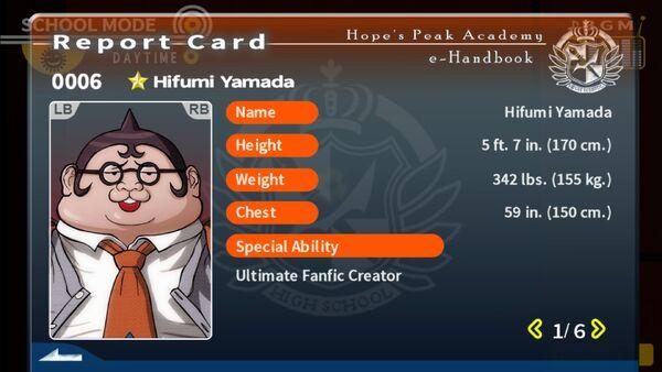 Hifumi Yamada Report Card Page 1