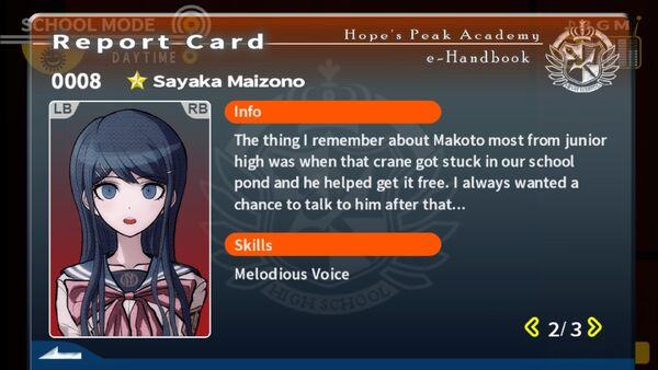 Sayaka Maizono Report Card Page 2
