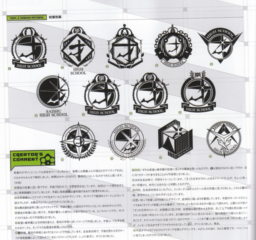 File:Art Book Scan Danganronpa V3 Trial and Various Material Prison School for the Gifted Logo Draft Designs Page.png