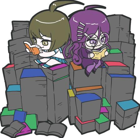 File:Danganronpa Another Episode Toko Fukawa Komaru Naegi Chibi Books 01.png