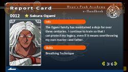 Sakura Ogami Report Card Page 3