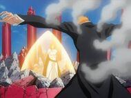 Ichigo protects Nel and Orihime