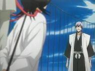 Gin approaches Rukia