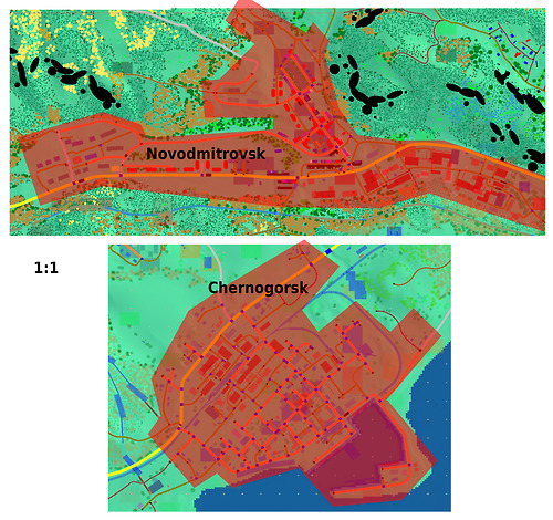 Novodmitrovsk compared in size with Chernogorsk