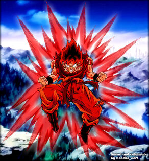 Goku kaioken colored by moncho m89 - Copy