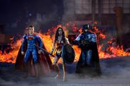 Action figure recreation of Superman, Wonder Woman and Batman