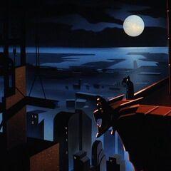 Batman and Robin survey Gotham.